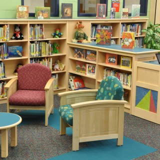 Tesco library shelving & Jasper Chair seating